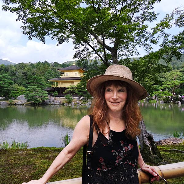 Marla Fields with Golden Pallace in background at Kyoto, Japan